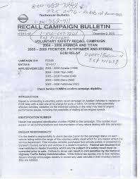 nissan canada recall check recall bulletin on ecm relay nissan titan forum