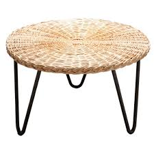 wicker coffee table mathieu mategot france c 1950s round top round