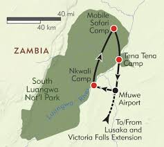 Victoria Falls Map Zambia Walking Safari Itinerary U0026 Map Wilderness Travel