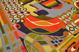 Red Blue Rug Hundertwasser Modern Rugs Abstract Wall Hangings Hand Embroidered