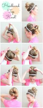 penny bun hairstyle big bang headband top knot gym updo how to hair pinterest updo