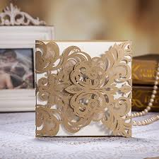 sle wedding invitations factory direct sale free shipping flower laser cut gold wedding