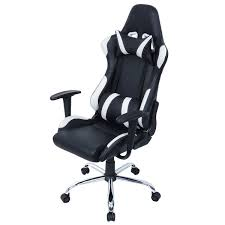 Gaming Swivel Chair Black And White Adjustable Gaming Chair With Head Rest Pillow