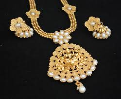 fashion jewelry necklace sets images Copper base pearl temple jewellery necklace set jpg