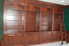 Rolling Ladder Bookcase Custom Home Library With Rolling Ladder Artisan Custom Bookcases