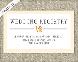wedding registry inserts bridal shower registry card customizable colors