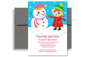 ice skating snow party birthday invitation examples 5x7 in