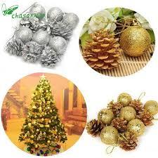 12pcs tree pine cones decoration new year
