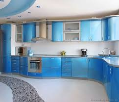 blue color kitchen cabinets a metallic blue kitchen with modern curved cabinets