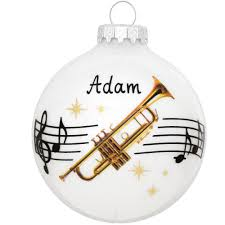 personalized trumpet with staff and glass ornament