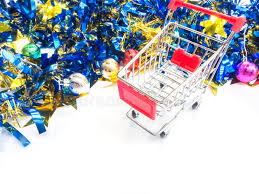 empty shopping cart with ornament stock photo image