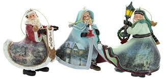 kinkade world santa ornaments set of 3 issue 19