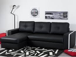 canapé noir et blanc convertible canapé angle convertible et réversible en simili noir faro