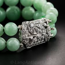 beaded bracelet clasp images Art deco natural burma jade bead bracelet with platinum diamond clasp jpg
