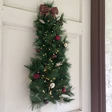 lighted wreath pine wall tree w white lights maroon
