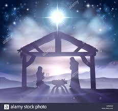 traditional christian christmas nativity scene of baby jesus in