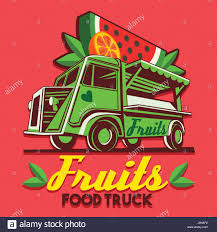 fruit delivery service food truck logotype for fruit stand shop fast delivery service or