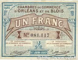 chambre de commerce orleans 1 franc regionalism and miscellaneous orléans et blois 1920