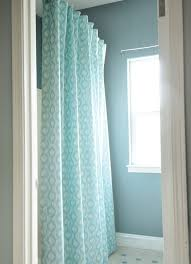 Aqua Blue Shower Curtains Diy Lined Shower Curtain Spaces Easy And Diy Shower