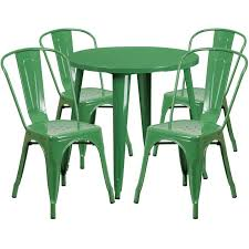 green metal outdoor table tbd5005 metal in outdoor round table set with 4 stack chairs 30 8
