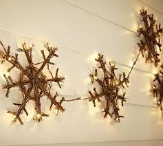 Twig Light Fixtures Lit Twig Snowflake Garland Pottery Barn