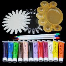 12 color acrylic nail kit paints 3d nail art designs nail tips