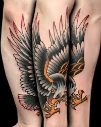 traditional flying eagle tattoo on right sleeve