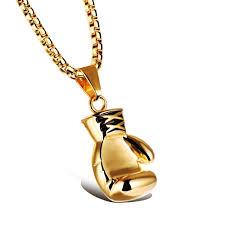 golden pendant necklace images Personalized boy boxing glove golden pendants necklace for men in jpg
