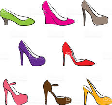 different kinds of high heel shoes in sketch style stock vector