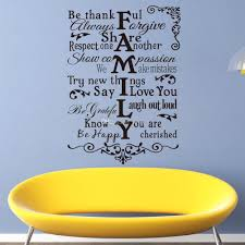 vinyl wall art stickers large family rules wall decals for living