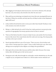 Basic Math Word Problems Worksheets Single Step Addition Word Problems Using Single Digit Numbers A