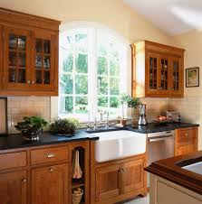 Traditional Kitchen Ideas Kitchen Oak Wood Bellmont Cabinets With Kraus Sinks For