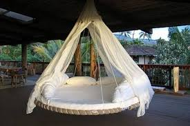 furniture patio design with rectangle white comfort swing bed