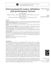 entrepreneurial teams definition and performance factors pdf