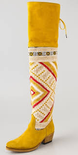 yellow boots s shoes zeus the knee suede boots aztec boots aztec and yellow boots