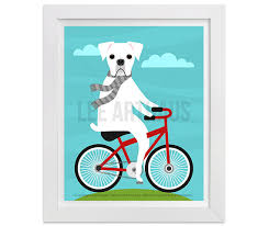 boxer dog wall art 115d dog art white boxer dog on bicycle wall art dog prints
