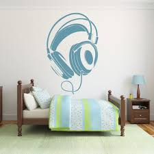 music wall stickers iconwallstickers co uk wired headphones stereo musical notes instruments wall sticker music art decal