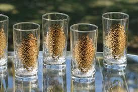 vintage cocktail set vintage mcm gold cocktail highball glasses set of 7 retro gold