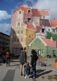 3d mural in poznan poland painted to remember historical market