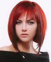 deconstructed bob haircut auburn red bob with bangs and lowlights angled bob haircuts cute