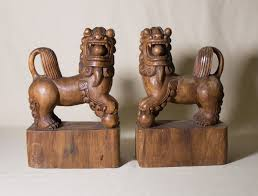 choo foo dogs foo dogs wooden bookends large foo dogs asian motiff shu dogs