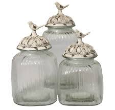 glass canister set jars storage containers clear lids kitchen