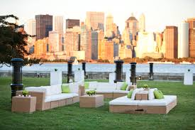 love this outdoor cocktail party seating arrangement at an ellis