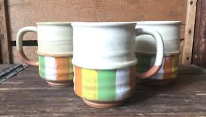 cool coffee mug set of 3 mid century terra cotta made in japan coffee mugs
