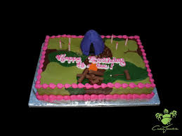 custom girls party cakes lets go camping