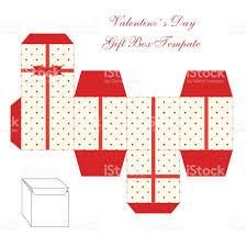 cute retro square gift box template with hearts ornament to print