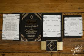 gatsby wedding invitations amanda s gold foil deco wedding invitation suite