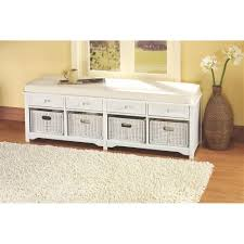 Home Decoraters Home Decorators Collection Oxford White 4 Basket Storage Bench