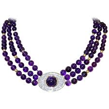 fine jewelry necklace images Fine amethyst diamond gold platinum necklace at 1stdibs jpg