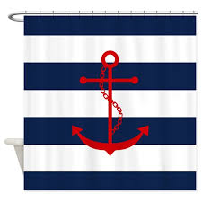 Nautical Striped Curtains Red Anchor On Blue Stripes Shower Curtain By Mcornwallshop
